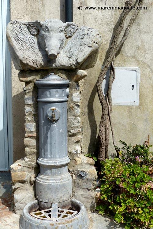 Lustignano wild boar water fontana