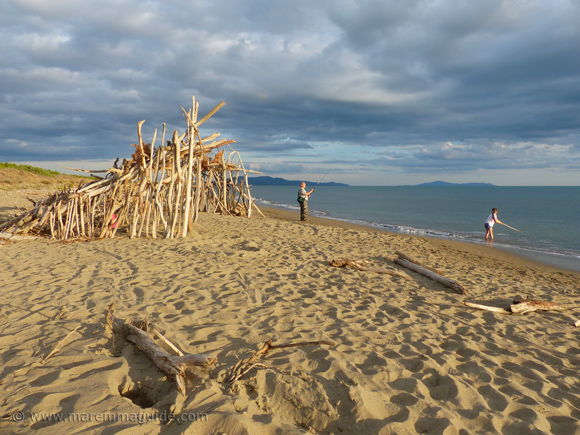 Maremma beach in September: early evening fishing on le Marze, Grosseto