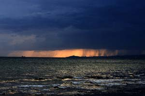 Maremma photo of the month thunderstorm arriving over the Golfo di Follonica and Mar Tirreno along the costa della Maremma