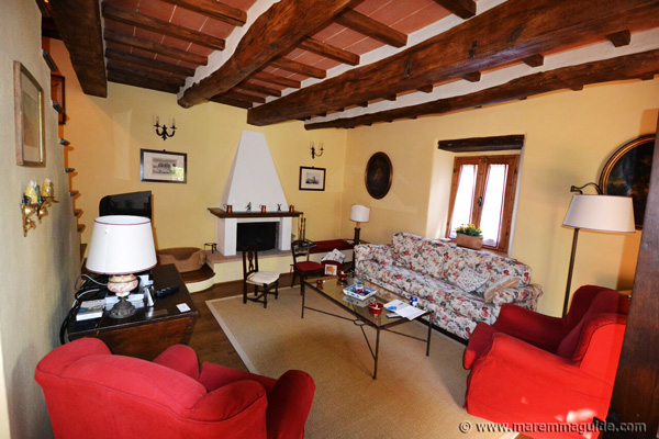 Maremma property: traditional Tuscan living room.