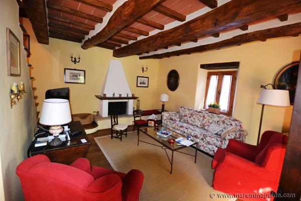Maremma property: traditional Tuscan living room.