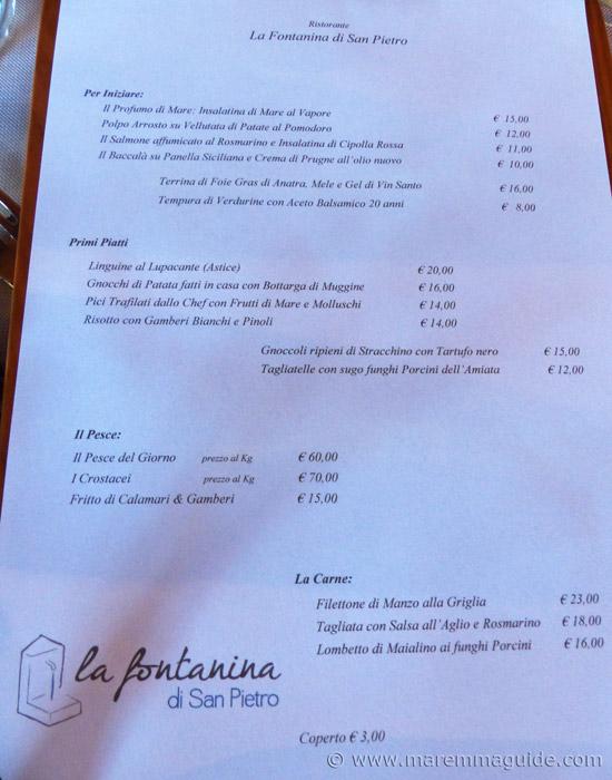 Maremma restaurant menu