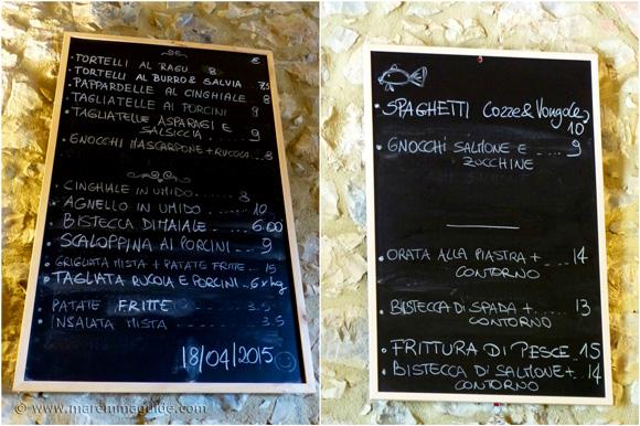 Maremma restauarnt menu Tuscany Italy