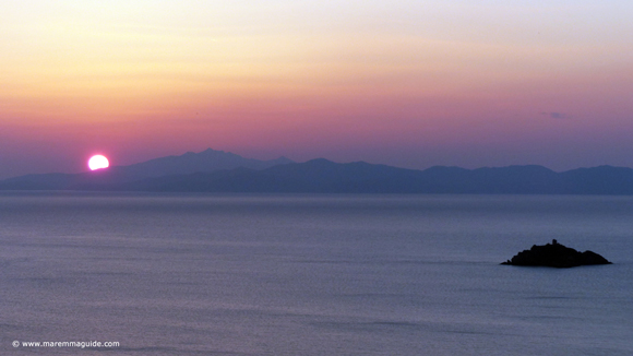 Maremma winter sunset over Isola d'Elba Tuscany