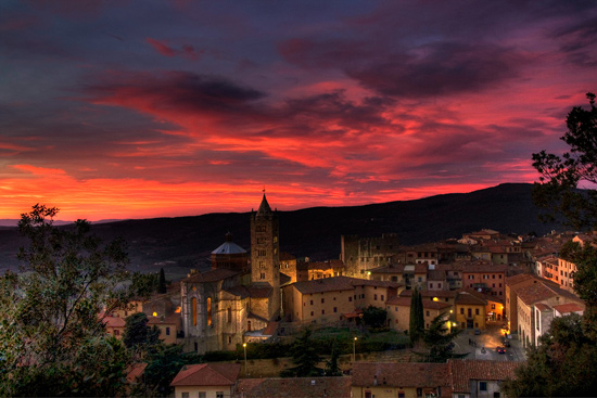 Massa Marittima Tuscany at sunset in January