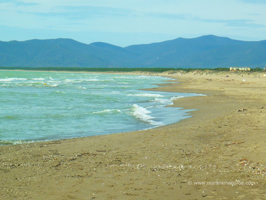 Marina di Grosseto beach looking northwards to the beach of Le Marze Maremma Tuscany