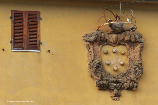 The Medici family coat of arms in Valpiana, Massa Marittima Tuscany