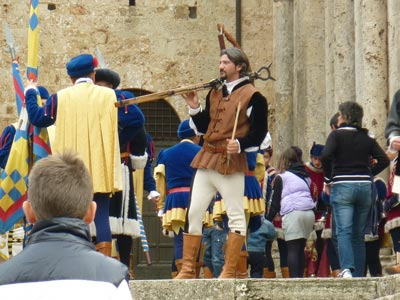 Crossbow medieval and archer at Trofeo San Cerbone, Massa Marittima, Maremma Italy