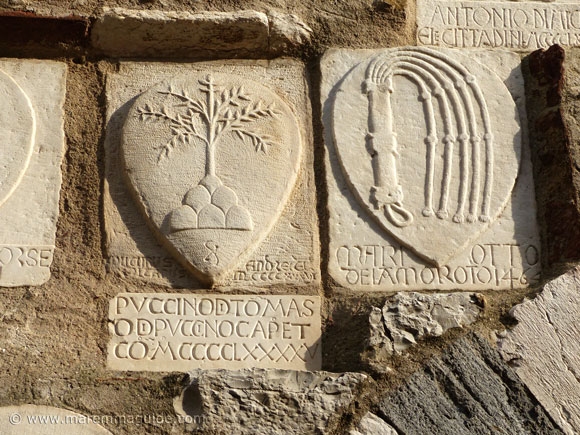 Late Medieval coats of arms in Campiglia Marittima Italy
