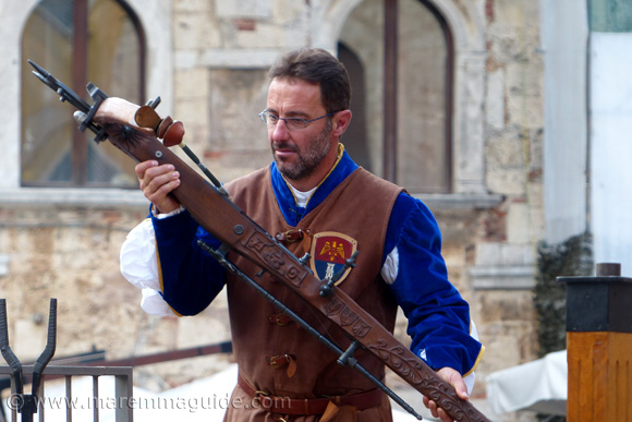 Medieval archer and crossbow from the Terziere di Borgo Massa Marittima Tuscany in October