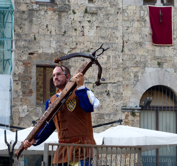 Medieval crossbow at the Festa di San Cerbone in Massa Marittima Maremma Tuscany