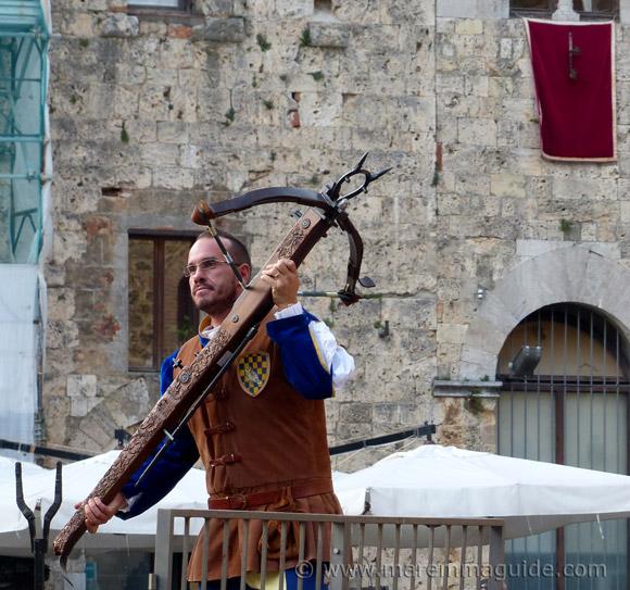 Medieval crossbow at the Festa di San Cerbone in Massa Marittima Maremma Tuscany