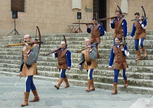 Medieval archers at the Trofeo San Cerbone, Massa Marittima, Maremma, Italy