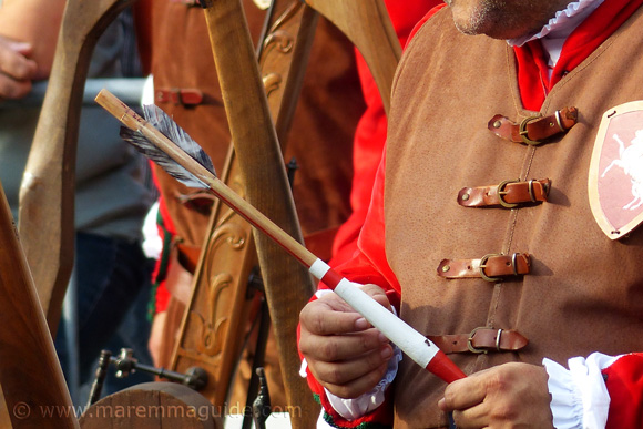 Handmade medieval arrow at the crossbow competition in Massa Marittima Tuscany Italy