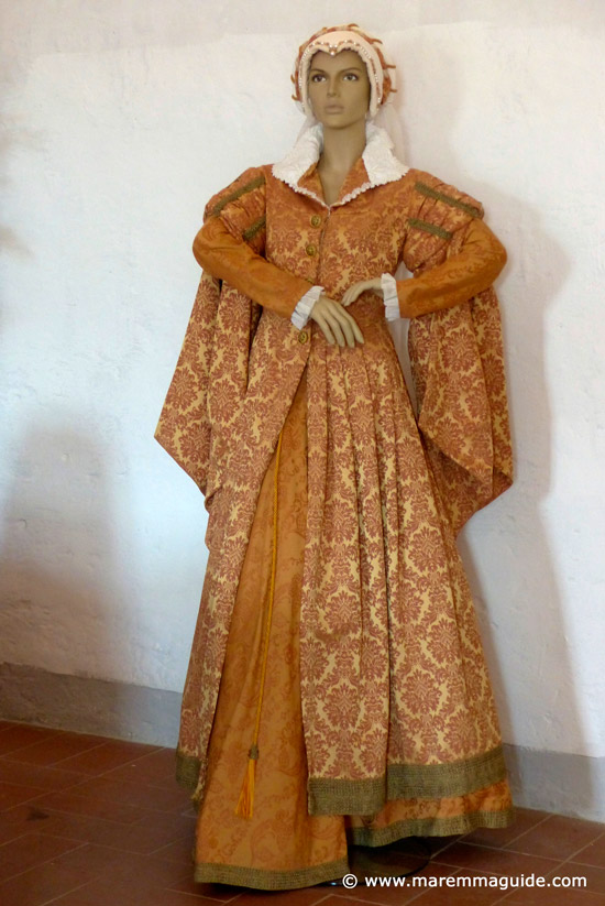 Reproduction of the medieval wedding dress of Margaherita Aldobrandeschi in the Fortezza Orsini museum Sorano Italy