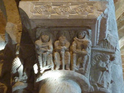 Middle ages sculptures from the cathedral at Sovana Maremma Tuscany Italy