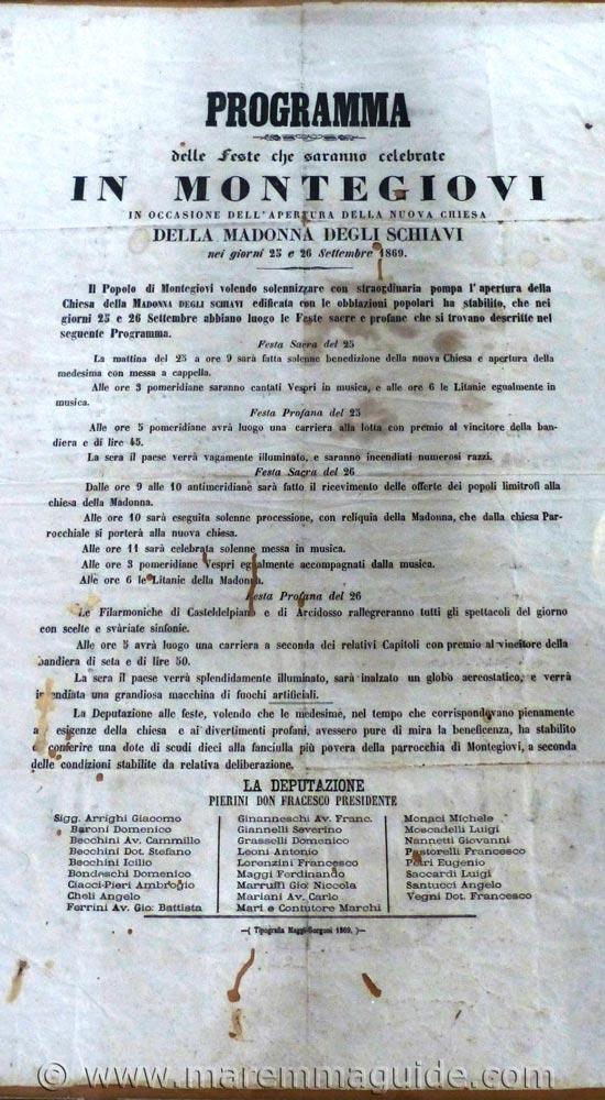 1869 Tuscany document: church opening announcemnet in Montegiovi.