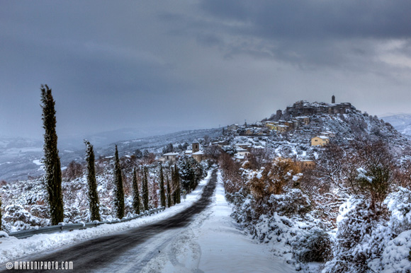 Montegiovi Tuscany under snow.