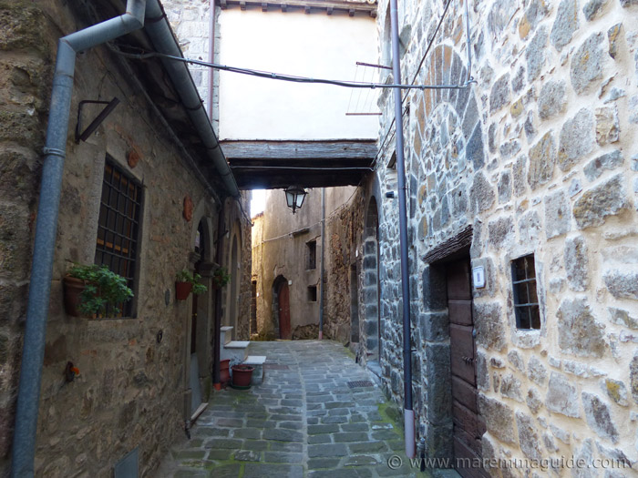 Narrow medieval street in Montelaterone.