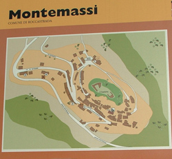 The Centrale Commerciale Naturale di Toscana information sign for Montemassi, Roccastrada, Maremma