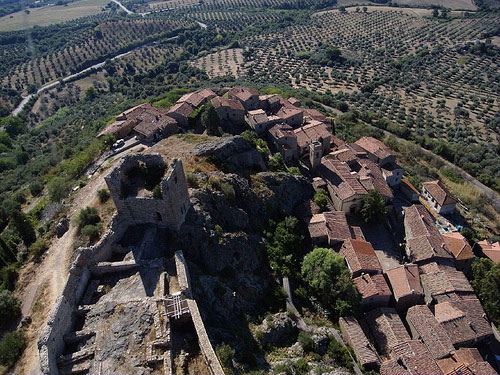 Kite Aerial Photography view of Montemassi, Rocastrada, Maremma Tuscany Italy