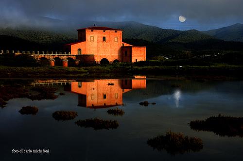 Moon sunset in Maremma, Italy