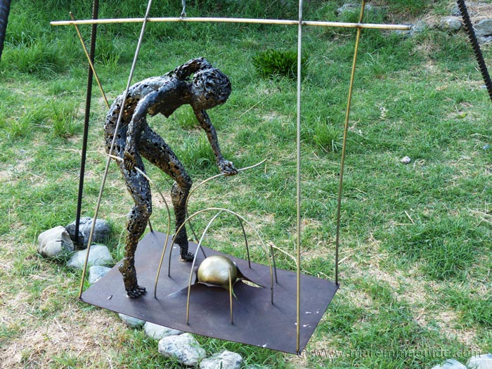 Outdoor metal art installation by Federico Molinaro.
