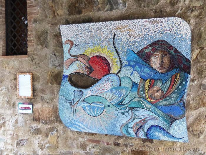Mosaic wall art. Mostra La Rocca Roccatederighi.