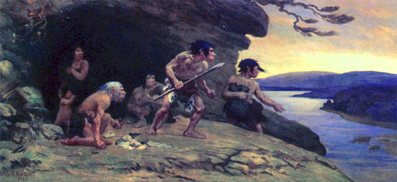 Mousterian Neanderthal man painting by Charles R. Knight