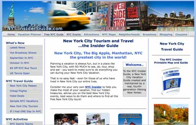Online vacation planning guide: the NYCinsiderguide website