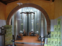 Olive oil storage tanks at Frantoio Stanghellini, Valpiana