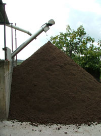 The pomace, sansa di oliva, remains after the virgin olive oil has been extracted