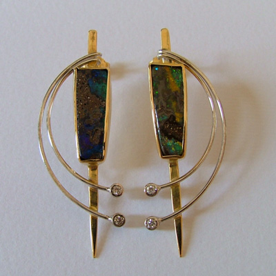 Italian Earrings: Australian bolder opals, white and yellow 18k gold and diamonds