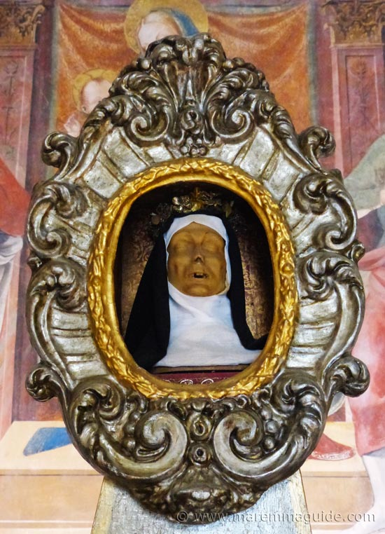 Mummified head - replica - in the Oratorio di San Rocco, Seggiano.