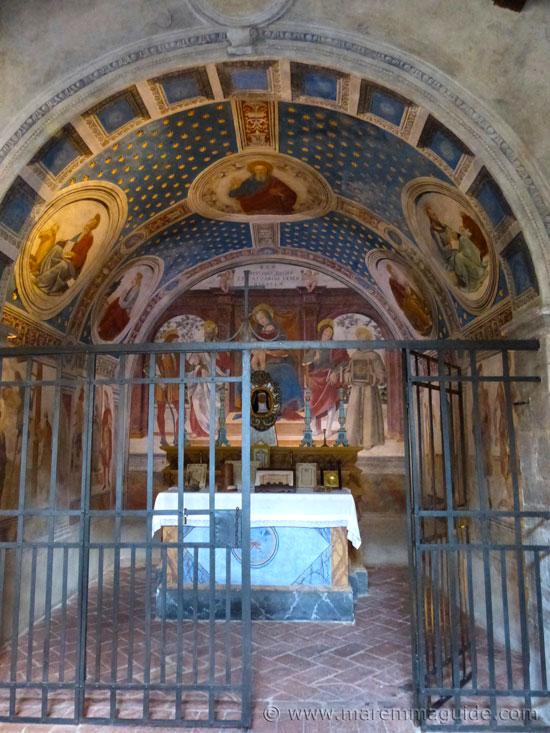 15th century frescoes in the Oratorio di San Rocco, Seggiano.