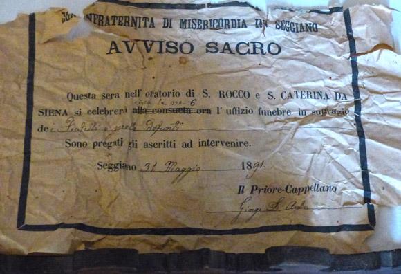 1891 funeral service announcement in the Oratorioa di San Rocco, Seggiano Tuscany.