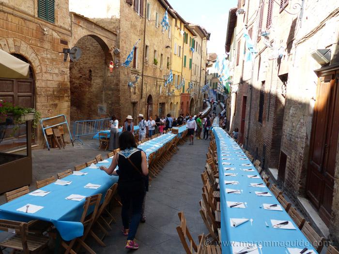 Palio di Siena Contrade dinners.