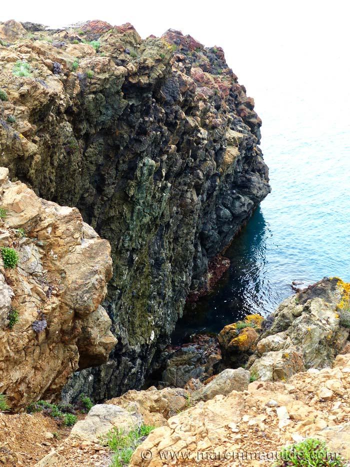 Piedmont-Liguria ocean floor basalt at Punta Falcone Piombino Tuscany Italy.