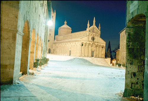 Photos of Tuscany: snow in Massa Marittima Maremma Italy