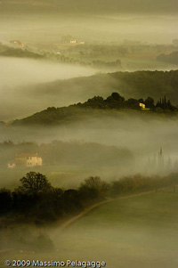 Sunrise with fog in Maremma