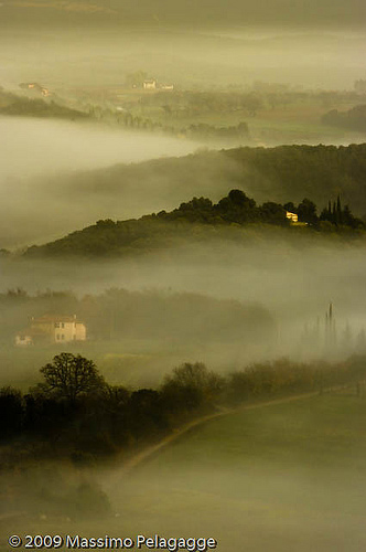 A foggy morning sunrise in Maremma