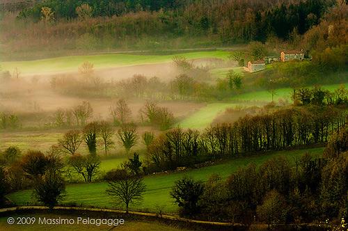 A foggy spring sunrise in Maremma