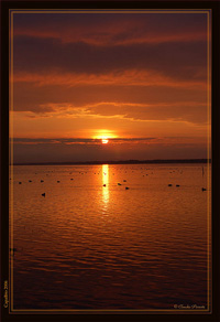 Orange sunrise over Burano lake, calpalbio, Maremma