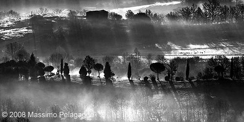 Black and white sunrise in Maremma