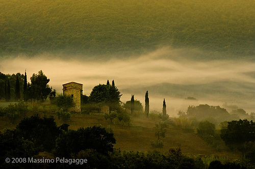A misty morning sunrise in Maremma