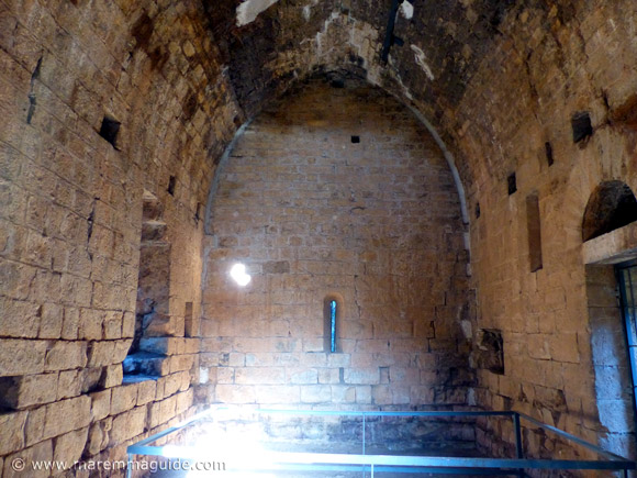 13th century stone-built fortified church La Pievaccia: ground floor with vaulted roof