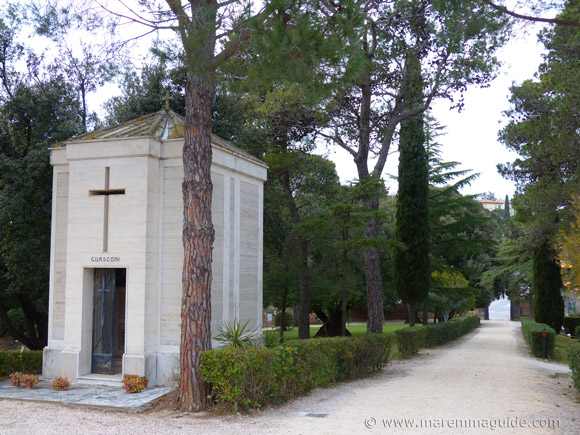 The grounds of the Pieve di San Giovanni chapel in Campiglia Marittima, Tuscany Italy