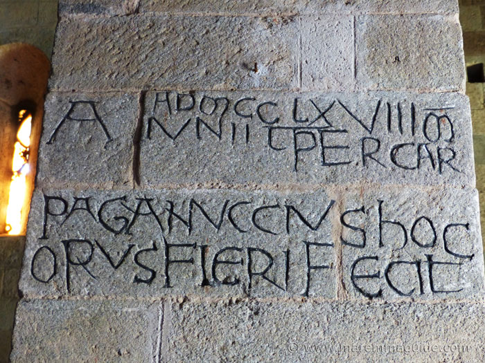1268 inscription in column of the Pieve di Santa Maria ad Lamulas church, Montelaterone