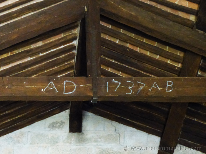 AD 1737 AB written on the roof truss of the Pieve di Santa Maria ad Lamulas