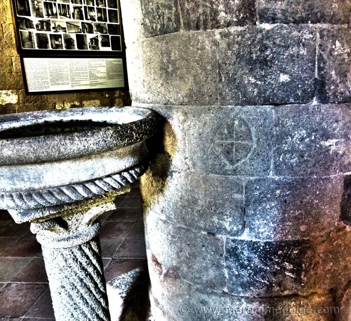 Knights Templar cross at the Pieve di Santa Maria ad Lamulus Monte Amiata Maremma